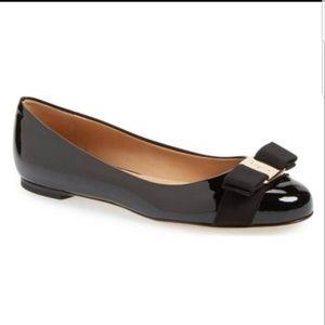 Salvatore Ferragamo Black Varina Patent Flats bow
